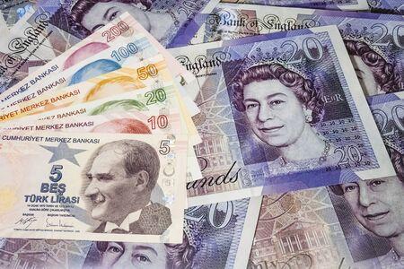 close up turkish lira banknotes on background.