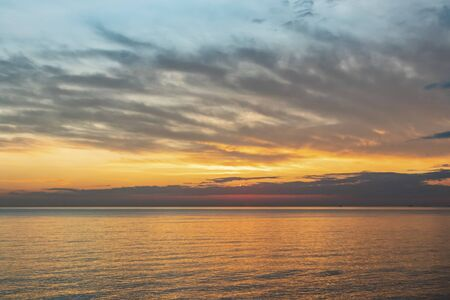 sunset and skyline on the sea in nature