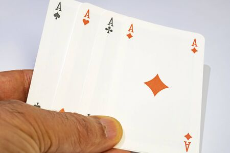 close up playing cards on white background