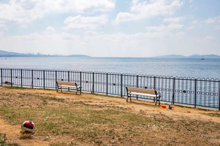 bench on the coast and seascape Stok Fotoğraf