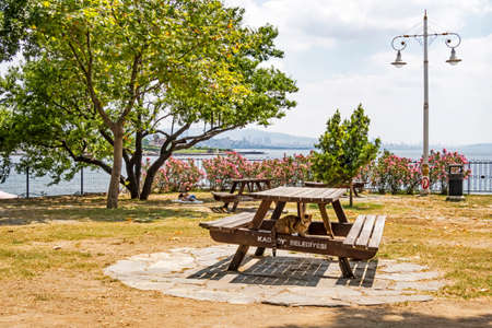 istanbul,turkey-july 4,2020.bench on the coast and seascape in fenerbahce public park.