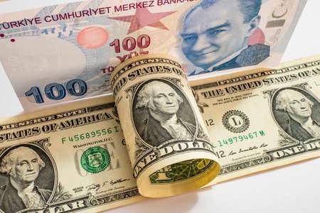 USA dollar and Turkish Lira banknotes Stock fotó