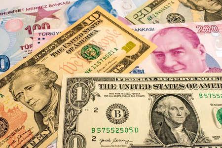 USA dollar and Turkish Lira banknotes