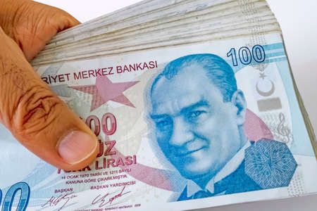 close up one hundred turkish lira banknotes