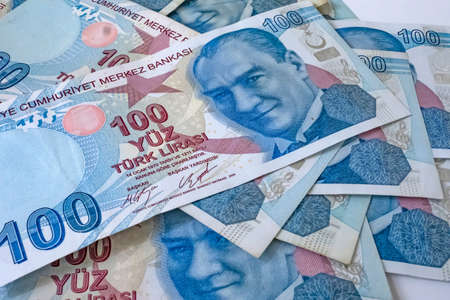 close up one hundred turkish lira banknotes