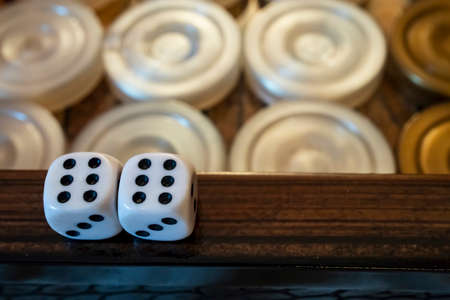 close up backgammon game and dice