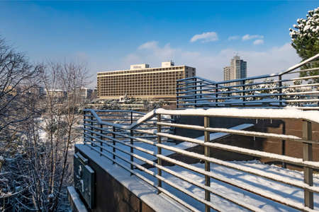 macka,istanbul,turkey-january 18,2020. snow in istanbul. Winter landscape from macka democracy and public park in winter season with hilton hotel view. Editorial