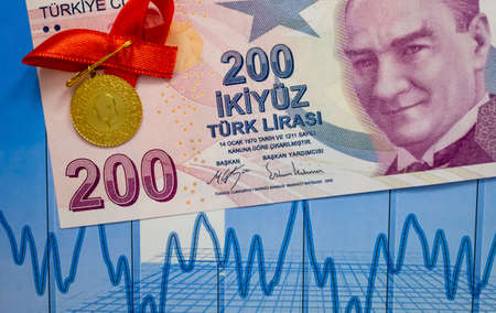 two hundred turkish lira paper banknote and turkish gold coin on background.