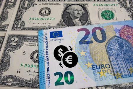 close up US dollar and Euro banknotes.