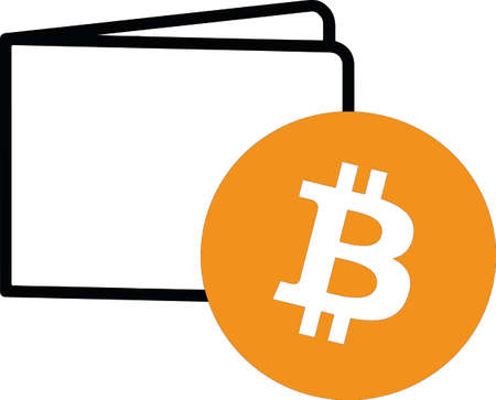 close up wallet and bitcoin coin Ilustração