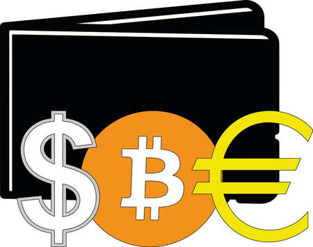 US dollar, Bitcoin coin and Euro signs with wallet on background.