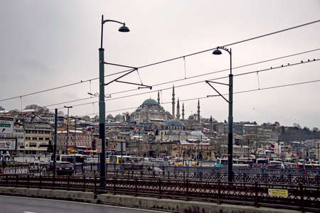 istanbul, turkey-february 18,2021.Istanbul is the dream city between europe and asian continent. Touristic views from old town and istanbul in winter season with its historical and natural beauties. Banco de Imagens - 164435983