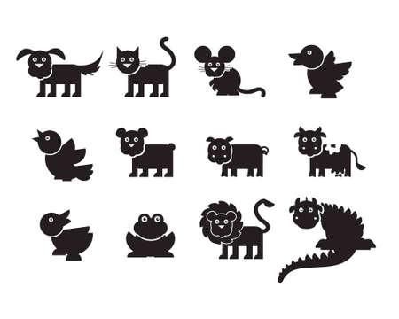 undomesticated: variety of animals silhouettes Illustration
