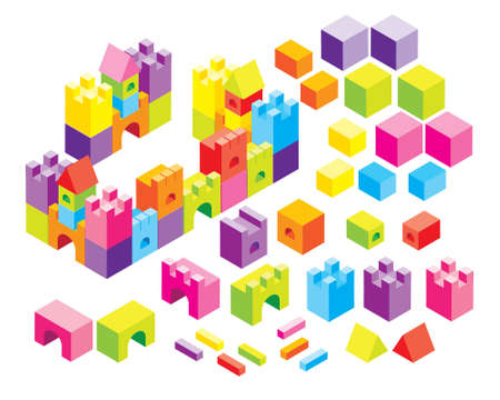 castle built with cubes Stock Vector - 8565239