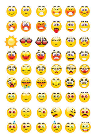 emoticons with a variety of expressions Vector