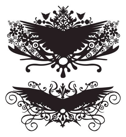 silhouette symbol wings Vector
