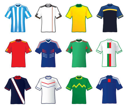 world cup: Football teams countries shirt Illustration