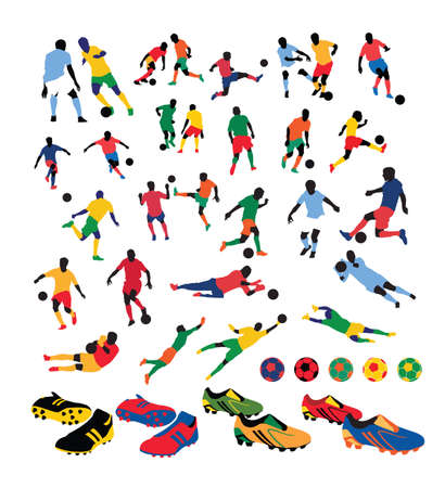 variedad de siluetas de jugadores de fútbol