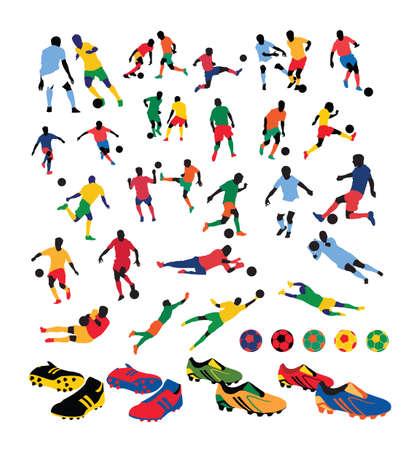 torwart: Vielzahl von Soccer Players silhouettes