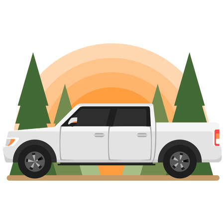 Cartoon Double Cabin Pick up Truck Side View Concept Illustration