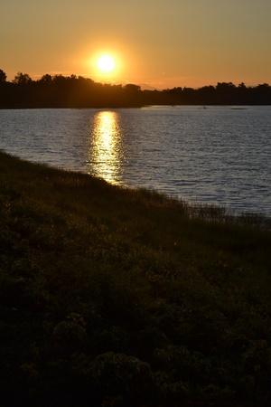 Sunset at a lake photo