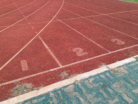 surface: The tracking lines for running sport
