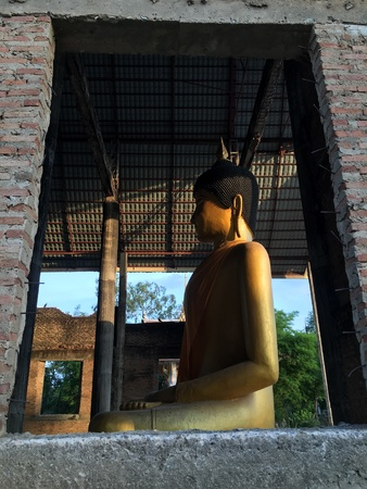 construction: Golden Buddha in the construction building
