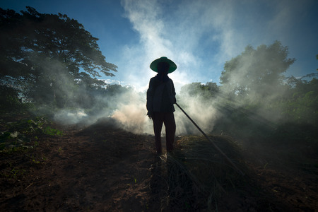 unnecessary: The Asian farmer burnt the unnecessary in the farm to prepare the new agricultural activity. Stock Photo