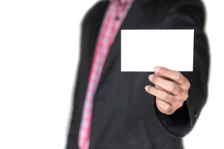 Man holding white business card on the white background