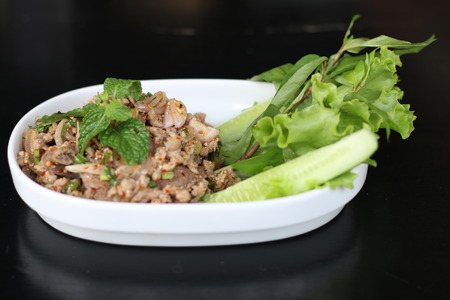 mined: Spicy mined pork is a thai food. Spicy Salad. Stock Photo