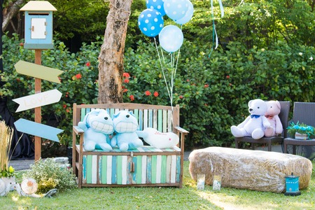 Decoration in party wedding in the garden .