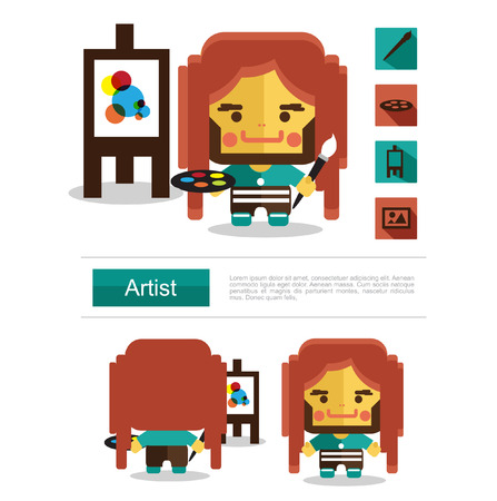 paper sculpture: Character design Artist career icon vector with white background