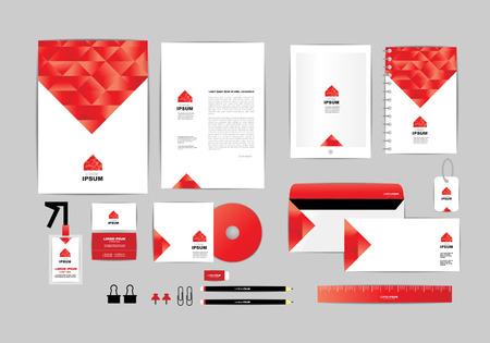 carpetas: rojo y blanco con triángulo de identidad corporativa A