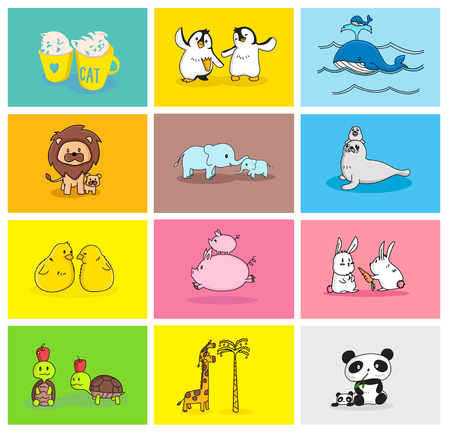 daughter mother: Baby and Mommy Animal Set Illustration