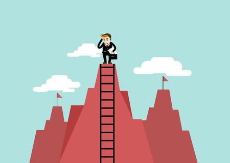 analogy: businessman get a better view on a ladder