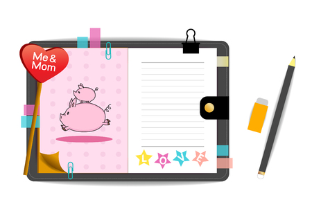 me: me and mom pigs with love pink notebook Illustration
