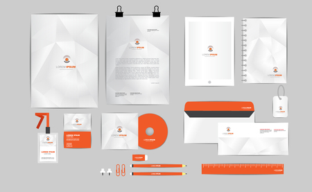 orange and grey corporate identity template  for your business includes CD Cover, Business Card, folder, ruler, Envelope and Letter Head Designs 2 Illustration