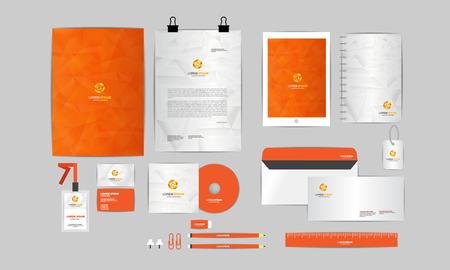 sobres para carta: naranja y gris plantilla de identidad corporativa para su negocio incluye la cubierta del CD, tarjeta de visita, carpetas, regla, diseños de sobres y Cabeza de la letra 3