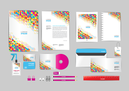identity card: colorful with triangle corporate identity template for your business includes CD Cover, Business Card, folder, ruler, Envelope and Letter Head Designs Illustration