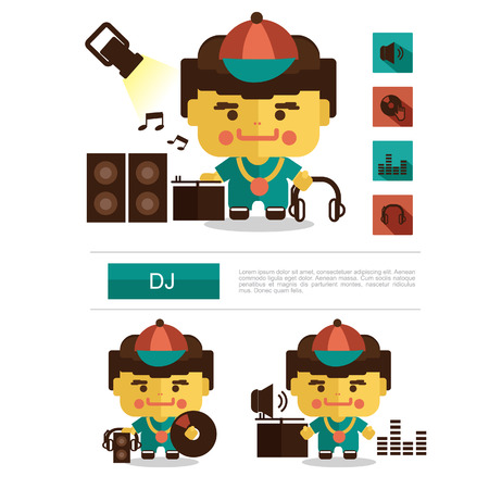 alluring: Character design DJ career, icon vector with white background