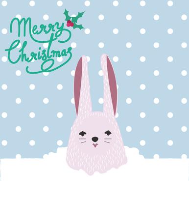 congratulatory: Christmas Rabbit With Congratulatory Text design