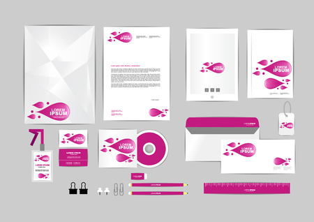 corporate identity template includes CD Cover, Business Card, folder, ruler, Envelope and Letter Head Designs 版權商用圖片 - 50767261