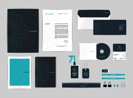 corporate identity template omvat CD Cover, Business Card, map, heerser, envelop en brief Head Designs