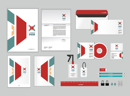 letter head: corporate identity template includes CD Cover, Business Card, folder, ruler, Envelope and Letter Head Designs