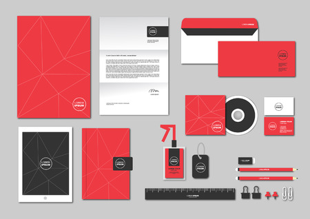 stationary set: corporate identity template includes CD Cover, Business Card, folder, ruler, Envelope and Letter Head Designs