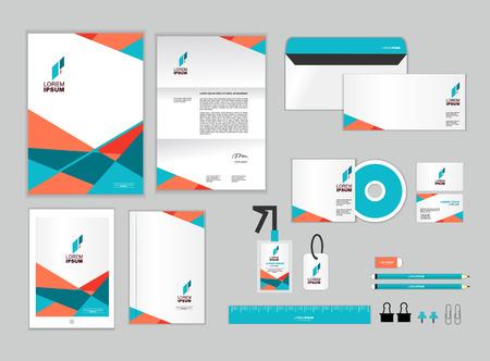 Modelo de la identidad corporativa incluye CD Cover, tarjeta de visita, carpetas, regla, sobre y la carta Diseños Cabeza Foto de archivo - 50766108