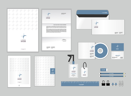 business letter: corporate identity template includes CD Cover, Business Card, folder, ruler, Envelope and Letter Head Designs