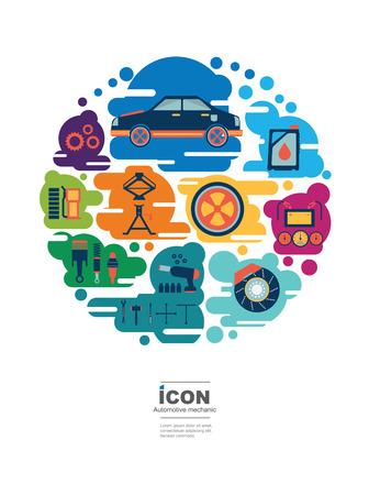 icon automotive mechanic Illusztráció