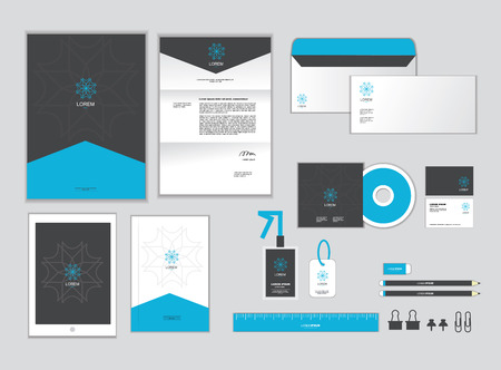 head i: corporate identity template for your business includes CD Cover, Business Card, folder, ruler, Envelope and Letter Head Designs I Illustration