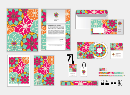 business letter: corporate identity template for your business includes CD Cover, Business Card, folder, ruler, Envelope and Letter Head Designs M Illustration